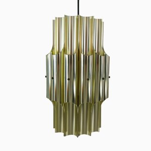 Danish Brass Pan Pendant Light by Bent Karlby for Lyfa, 1960s