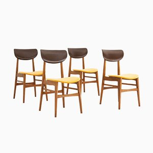 Mid-Century Swedish Skai & Velvet Chairs, 1950s, Set of 4