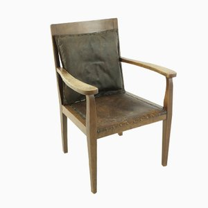 Beech & Leather Armchair, 1920s