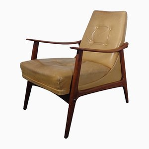 Vintage Danish Teak & Leather Lounge Chair