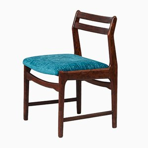 Vintage Rosewood & Blue Fabric Dining Chair