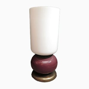 Italian Purple and White Table Lamp from Venini, 1960s