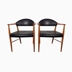 Dänische Vintage Leder & Teak Armlehnstühle, 2er Set