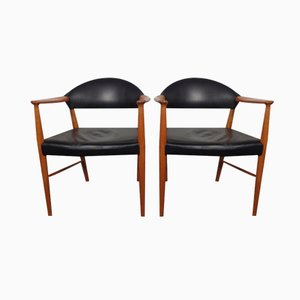 Vintage Danish Leather & Teak Armchairs, Set of 2