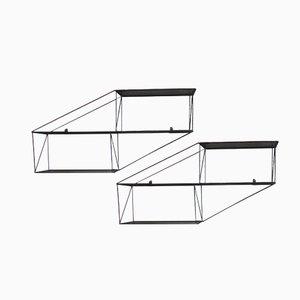 Mensole architettoniche in metallo perforato, Francia, anni '50, set di 2