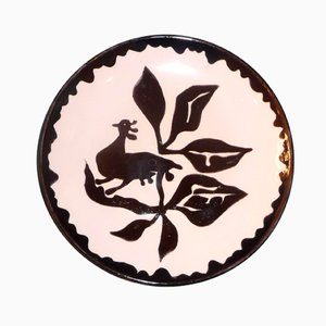 Glazed Pottery Plate with Rooster by Jean Lurçat for Perpignan, 1950s