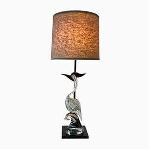 Lampada da tavolo veneziana con cigno in vetro di Murano, anni '60