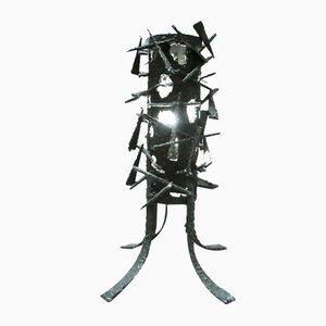 Lampada da tavolo brutalista in metallo