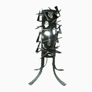 Lámpara de mesa brutalista de metal