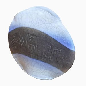 Jarrón de cerámica plano agrietado de Colette Houtmann, 1986
