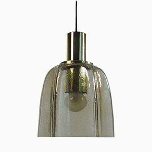 Lampada a sospensione in vetro a forma di fazzoletto e ottone di Limburg, anni '60