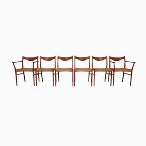 Stühle aus Teak & Papierkordel von Ejner Larsen & Aksel Bender Madsen für Glyngore Stolefabrik, 6er Set