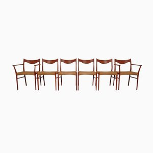 Teak & Paper Cord Chairs by Ejner Larsen & Aksel Bender Madsen for Glyngore Stolefabrik, Set of 6