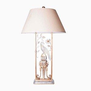 Lámpara de mesa con loro de cristal y metal dorado, años 40