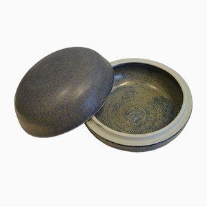 Recipiente vintage de cerámica esmaltada con tapa de Gérald Pott