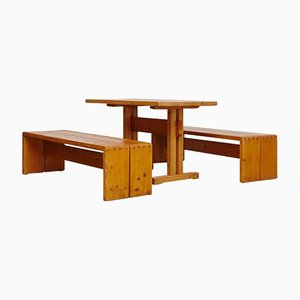 Pine Dining Set by Charlotte Perriand for Les Arcs, 1960s