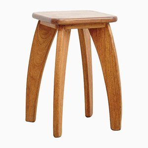 French Four-Legged Wooden Stool, 1950s