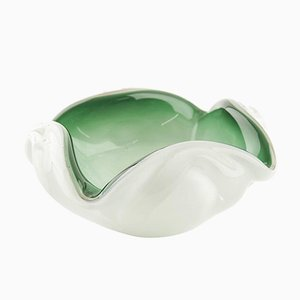 Transparent Green Murano Glass Ashtray, 1950s
