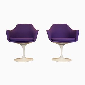 Mid-Century Purple Wool Tulip Armchairs by Eero Saarinen for Knoll, Set of 2
