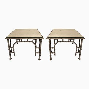 Iron Faux Bamboo Side Tables, 1960s, Set of 2