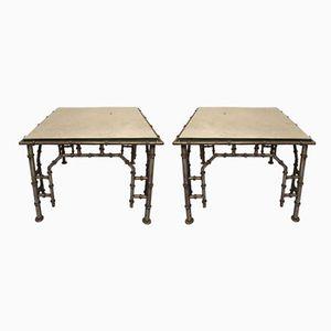 Tables d'Appoint en Fer et en Faux Bambou, 1960s, Set de 2