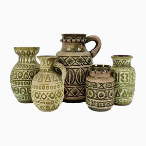 Vintage German Ceramic Jars, Set of 5