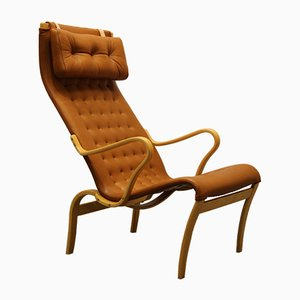Vintage Beech & Aniline Leather Miranda Easy Chair by Bruno Mathsson
