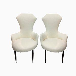 Italian Mid-Century White Armchairs, 1950s, Set of 2