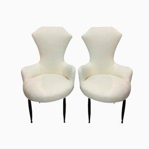 Italienische Weiße Mid-Century Armlehnstühle, 1950er, 2er Set