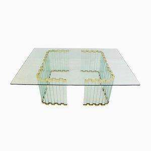 Table Basse en Or, Métal et en Verre, 1970s