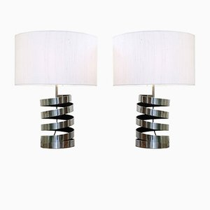 Chrome Spring Coil Table Lamps, 1970s, Set of 2
