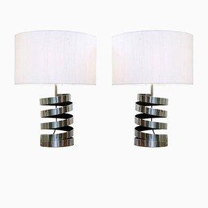 Lámparas de mesa cromadas con resortes, años 70. Juego de 2