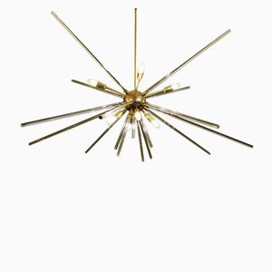 Lámpara de techo Sputnik de latón y vidrio, años 60