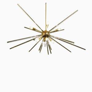 Plafonnier Sputnik en Laiton et en Verre, 1960s