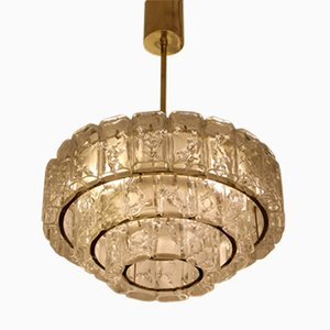 Brass & Glass Chandelier from Doria, 1960s