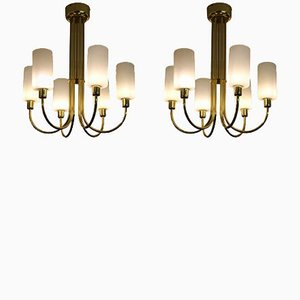 Italian Brass Chandeliers, 1960s, Set of 2