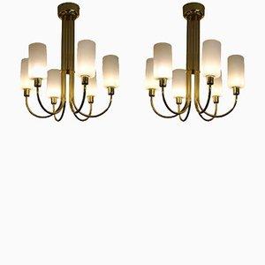 Lámparas de araña italianas de latón, años 60. Juego de 2