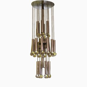 Chrome & Glass Chandelier by Gaetano Sciolari, 1970s