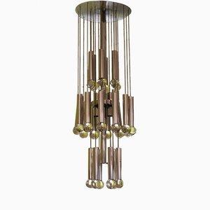 Lámpara de araña de cromo y vidrio de Gaetano Sciolari, años 70