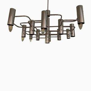 Lampada da soffitto placcata in cromo, anni '70