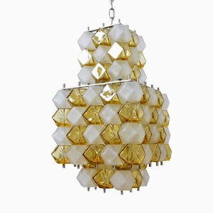 Lámpara de araña Op Art italiana vintage de vidrio artístico blanco mate y ámbar de Interlux