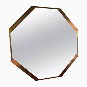 Specchio ottagonale in ottone, anni '60