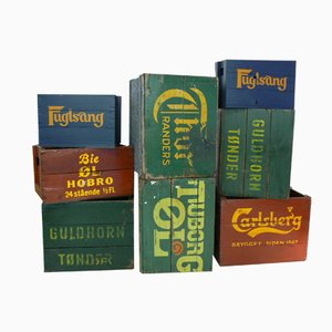 Vintage Danish Beer Boxes, Set of 8
