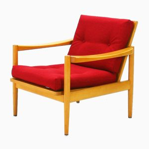 Vintage Beech Easy Chair with Red Upholstery