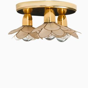 Mother of Pearl Lotus Flower Ceiling Lamp from Boulanger, 1970s