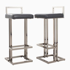 French Chrome Stools from Maison Jansen, 1980s, Set of 2