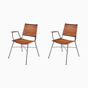 Stackable Italian Wicker Armchairs, 1960s, Set of 2