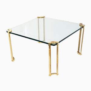 Square Brass & Glass Coffee Table by Peter Ghyczy, 1970s