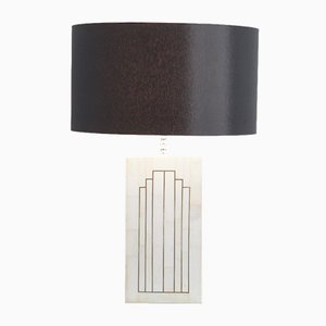 Lampada da tavolo vintage geometrica in marmo