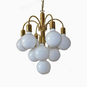 Space Age Brass & Glass Chandelier